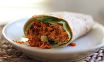 Pulled chicken on a wrap